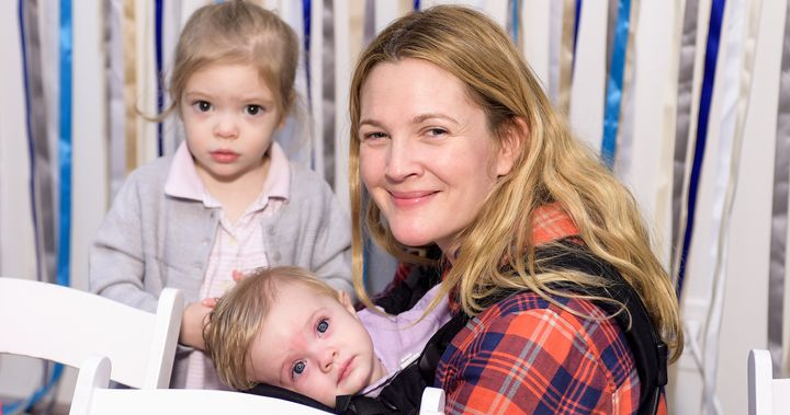 Drew Barrymore with her daughters, Olive and Frankie.