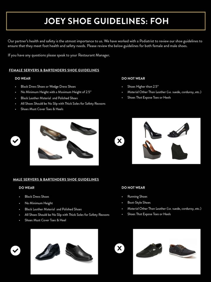 Joey's new shoe guidelines, which the company says were released in March.