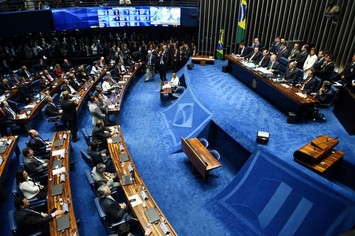 The Senate voted 55-22 to suspend Brazilian President Dilma Rousseff and launch an impeachment trial.