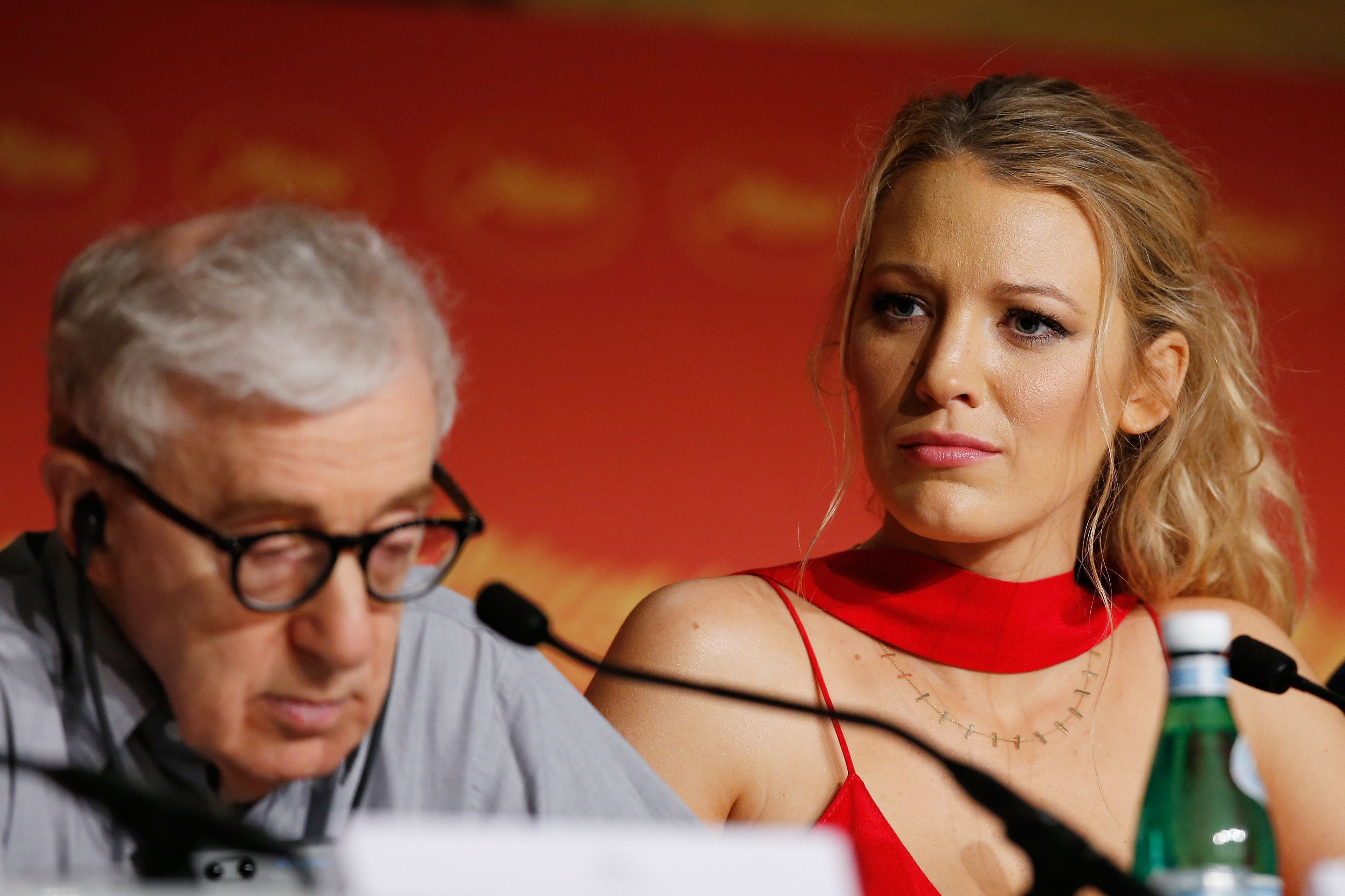 CANNES, FRANCE - MAY 11:  Woody Allen (L) and Blake Lively attend the 'Cafe Society' Press Conference during The 69th Annual Cannes Film Festival on May 11, 2016 in Cannes, France.  (Photo by Pool/Getty Images)