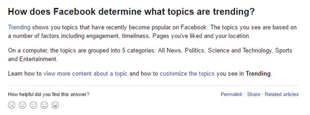 Facebook's help page about Trending Topics, as seen on