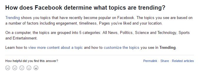 Facebook's help page about Trending Topics, as seen on Thursday.