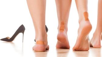 usage of sticky plasters due to tight footwear