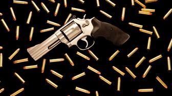 .357 magnum caliber revolver with ammunition