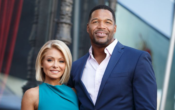 Television host Kelly Ripa and Michael Strahan attend the Hollywood Walk of Fame on October 12, 2015 in Hollywood, California