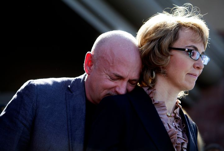 Former Congresswoman Gabby Giffords and her husband attend a 2013 news conference urging Congress to act on gun con