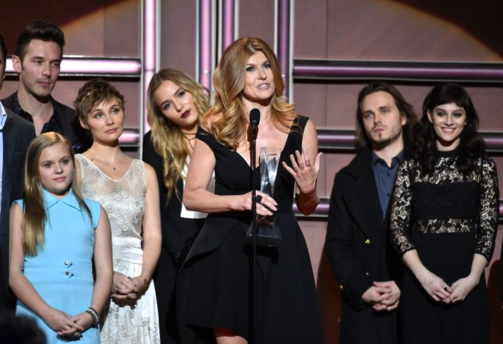"""Actress Connie Britton (Center) and the cast of ABC's """"Nashville"""" receive an award onstage during the 2015 """"CMT Artists of the Year"""" in December 2015."""