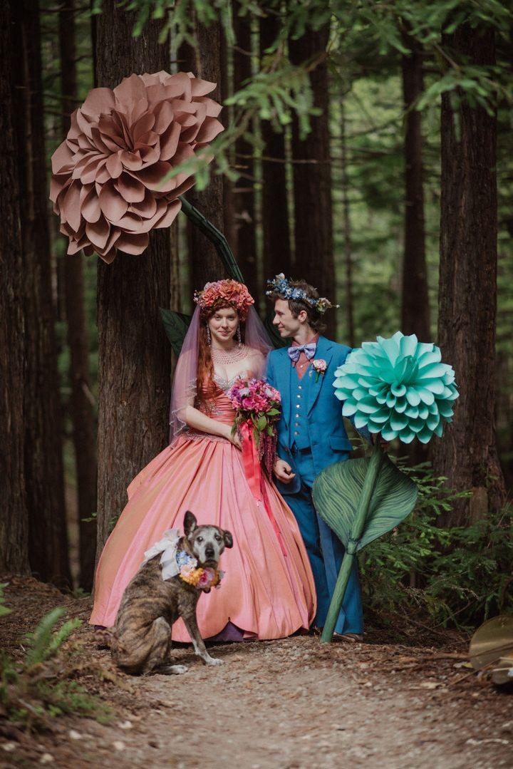 Melissa Castaneda and Benjamin Turner's Mendocino Woodlands wedding was like a mini forest festival.