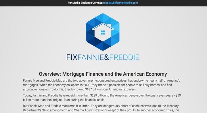 The top of the Fix Fannie & Freddie website promoting Dr. Robert Shapiro's paper on the subject.