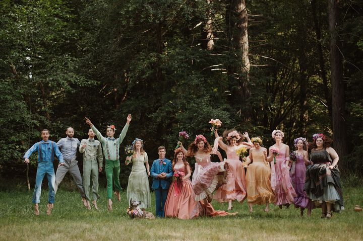 The bridal party in all their rainbow-colored glory.