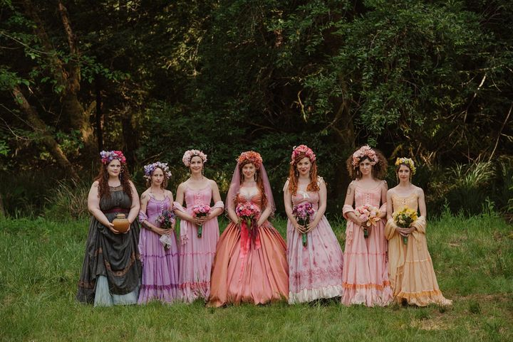 The bride's twin sister created the headdresses for the bridesmaids.