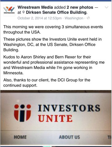 A second Facebook post by Wirestream Media shows DCI Group's involvement with Investors Unite.