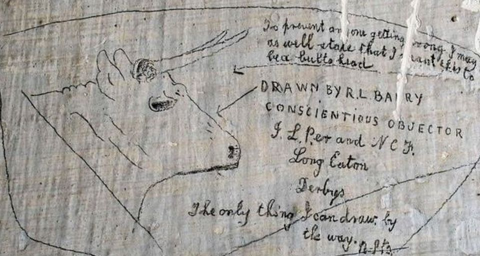 Pictures of 'delicate' pencil drawn graffiti byconscientious objectors held in Richmond Castle...