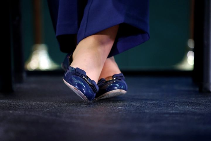 Hillary Clinton's feet in flats.