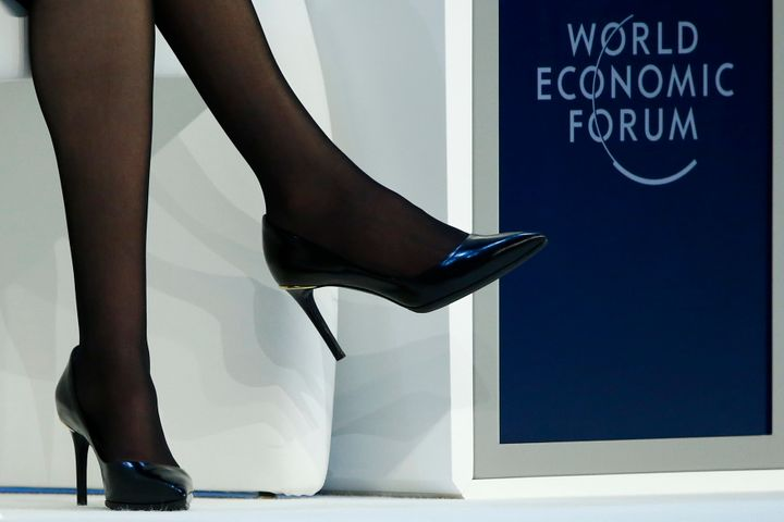 The spiky-heeled shoes of Facebook Chief Operating Officer Sheryl Sandberg at the World Economic Forum in January.