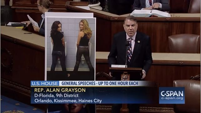 Rep. Alan Grayson (D-Fla.) gave a House floor speech about the absurdity of passing laws affecting which bathrooms transgender people use.