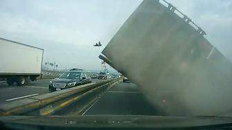 Tractor trailer overturns on New York's Tappan Zee Bridge on May 13, 2016.