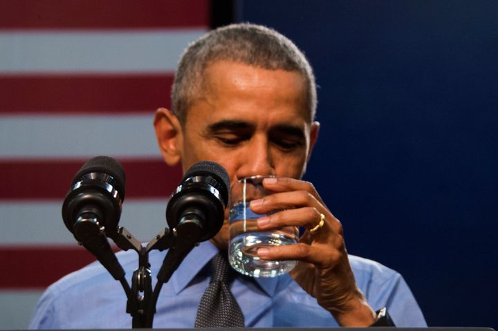 Michael Moore said he was upset after President Barack Obama was pictured drinking a glass of filtered Flint water.