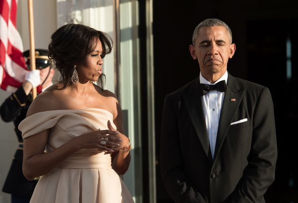 The president and first ladyhad some fun as they waited for their guests to arrive.