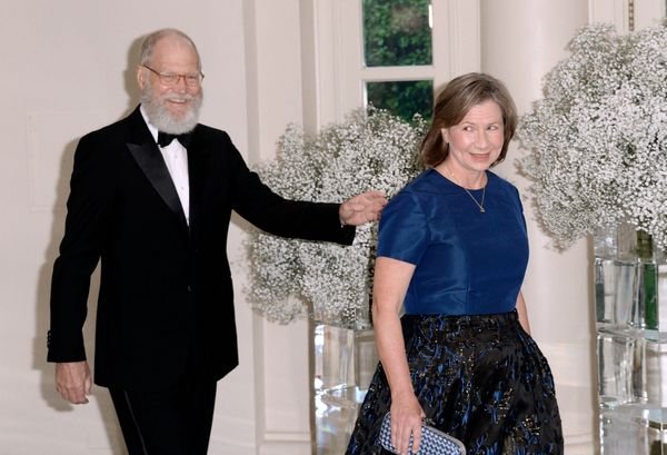Comedian David Letterman, still sporting his retirement beard, and his wife, Regina Lasko, arrive at the state dinner.