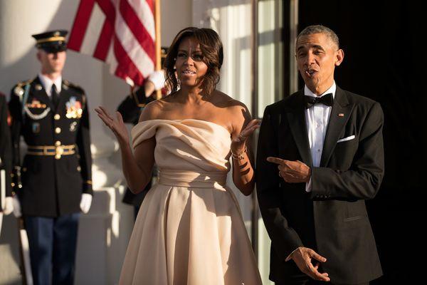 Michelle Obama wore a dress designed byNaeem Khan.