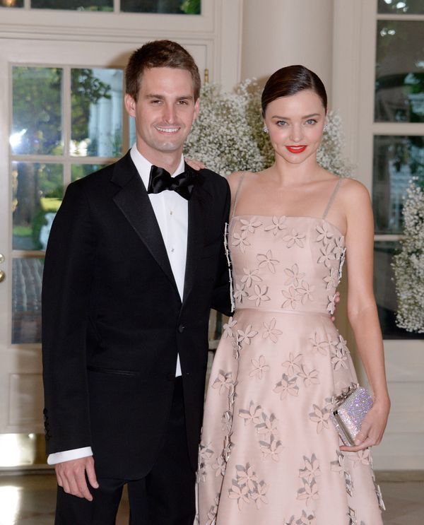 Miranda Kerr and her Snapchat CEO boyfriend, Evan Spiegel, arrive at the state dinner.