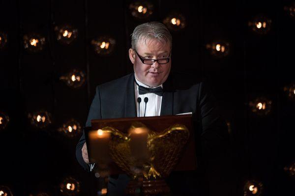 Icelandic Prime Minister Sigurdur Ingi Johannsson speaks duringthe dinner.