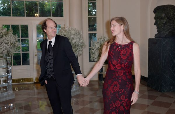 United Nations ambassador Samantha Power and her husband, Cass Sunstein, arrive at the state dinner.