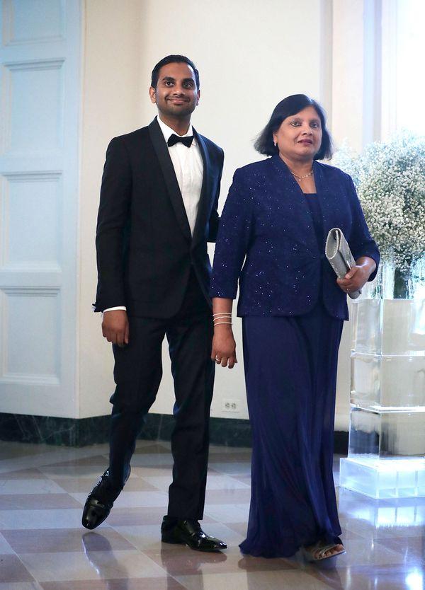 Actor Aziz Ansari arrives with his mother, Fatima.