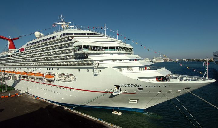 Broberg was on a 10th deck of the Carnival Liberty, pictured, when video captured her going overboard around 2 a.m. Friday, r
