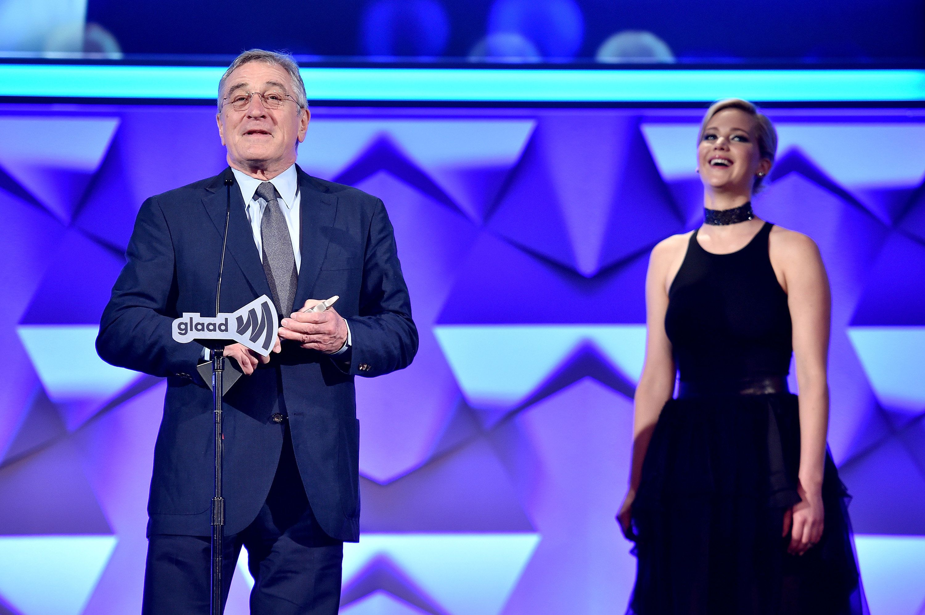 Robert De Niro and Jennifer Lawrence at the 27th Annual GLAAD Media Awards hosted by Ketel One.