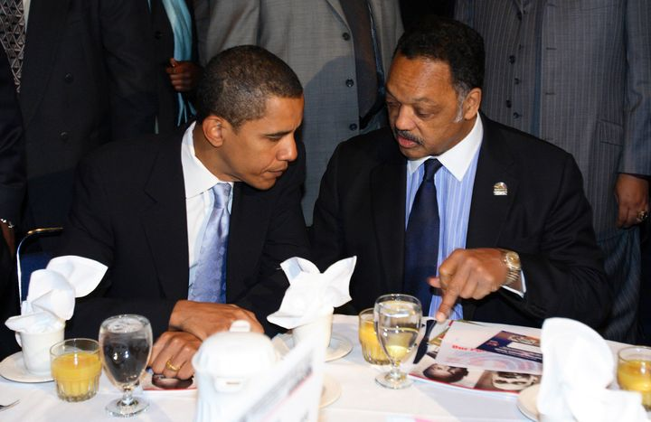 Then-Sen. Barack Obama (D-Ill.) talks with Rev. Jesse Jackson Sr. in Chicago Jan. 15, 2007.