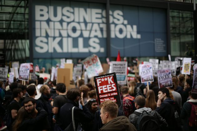 Students have protested fee increases before, seen here outside the Business department in