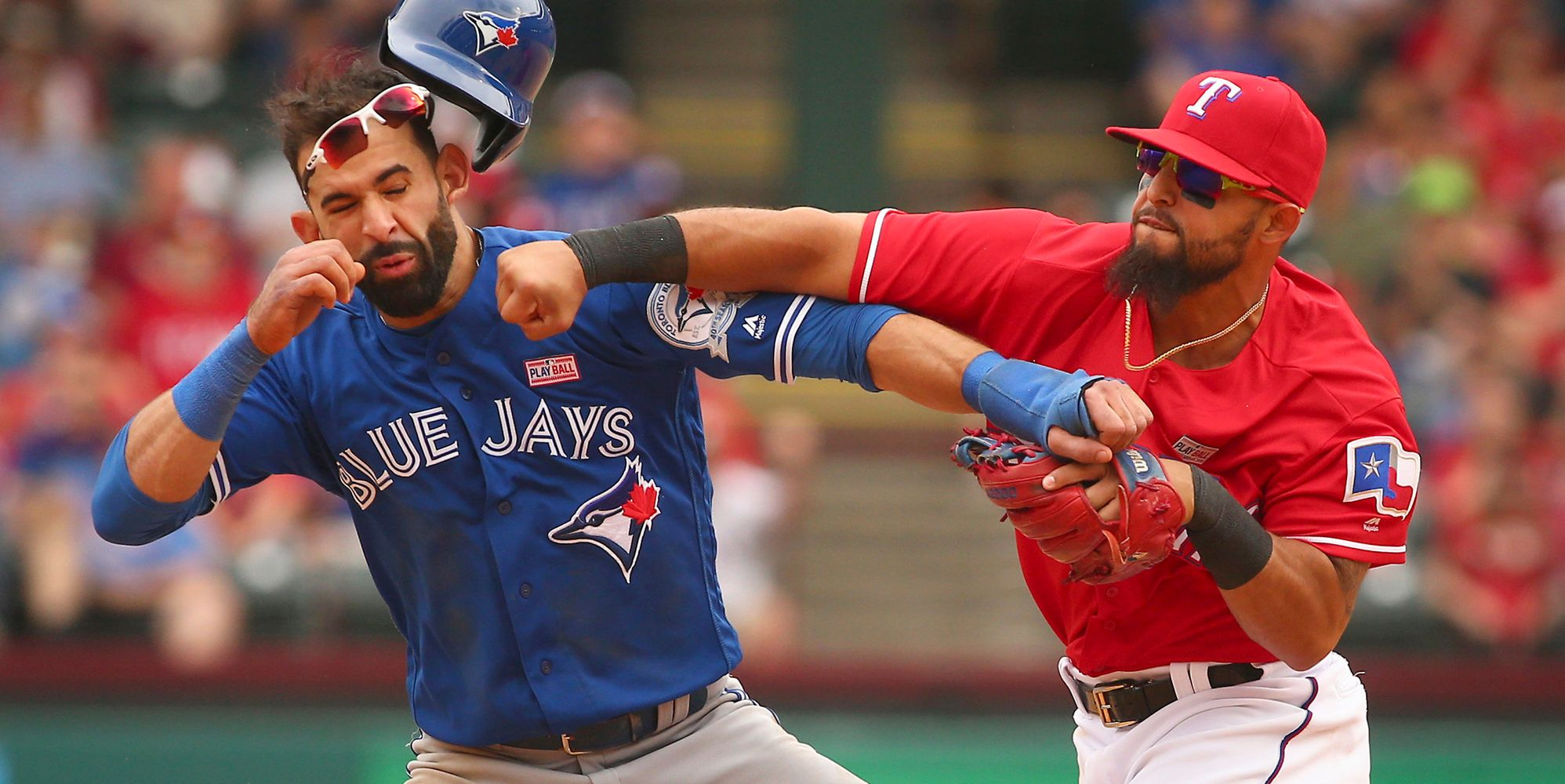 Blue Jays And Rangers Brawl After Rougned Odor Punches Jose Bautista In The Face