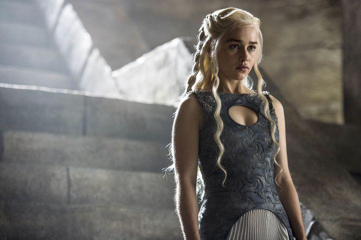 Emilia Clarke as Daenerys Targaryen on