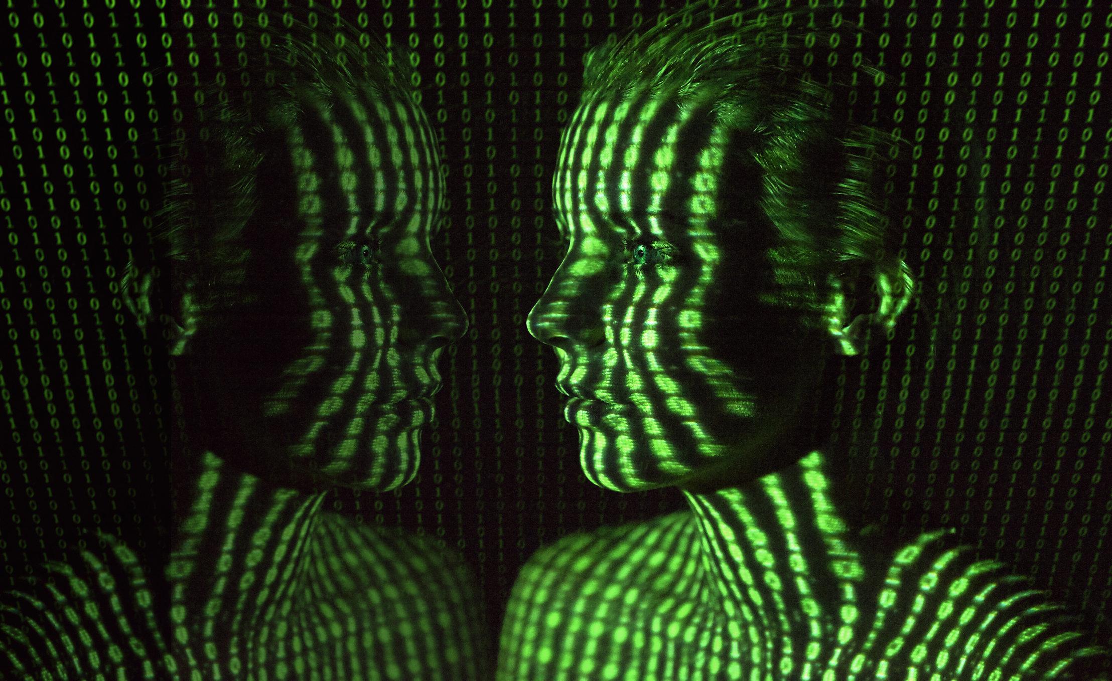Woman with digital binary code