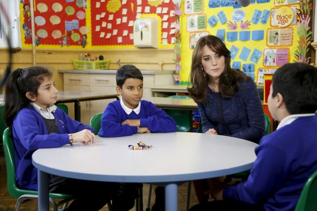 The Duchess of Cambridge at Salusbury primary school in London, during the filming for Children's Mental...