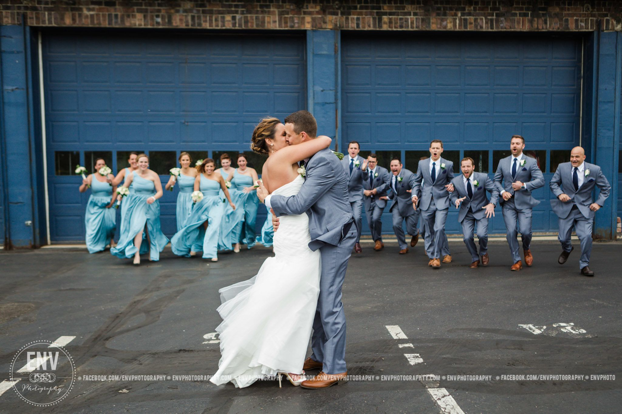 """Wild winds and a wild bridal party made for a good time! Nick and Heather were married at Dock580 in Columbus, Ohio on Satur"