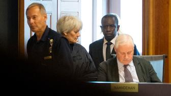 Picture taken on September 16, 2015 shows Claver Berinkindi (2R) at a court room in Stockholm. The Swedish citizen originally from Rwanda has been sentenced to life in prison on May 16, 2016  as he was found guilty for genocide and gross violation of international in the 1994 genocide in Rwanda.  / AFP / TT NEWS AGENCY AND TT News Agency / JESSICA GOW / Sweden OUT        (Photo credit should read JESSICA GOW/AFP/Getty Images)