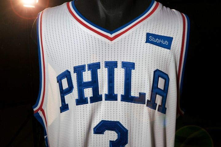 At least the StubHub logo matches the 76ers color scheme.