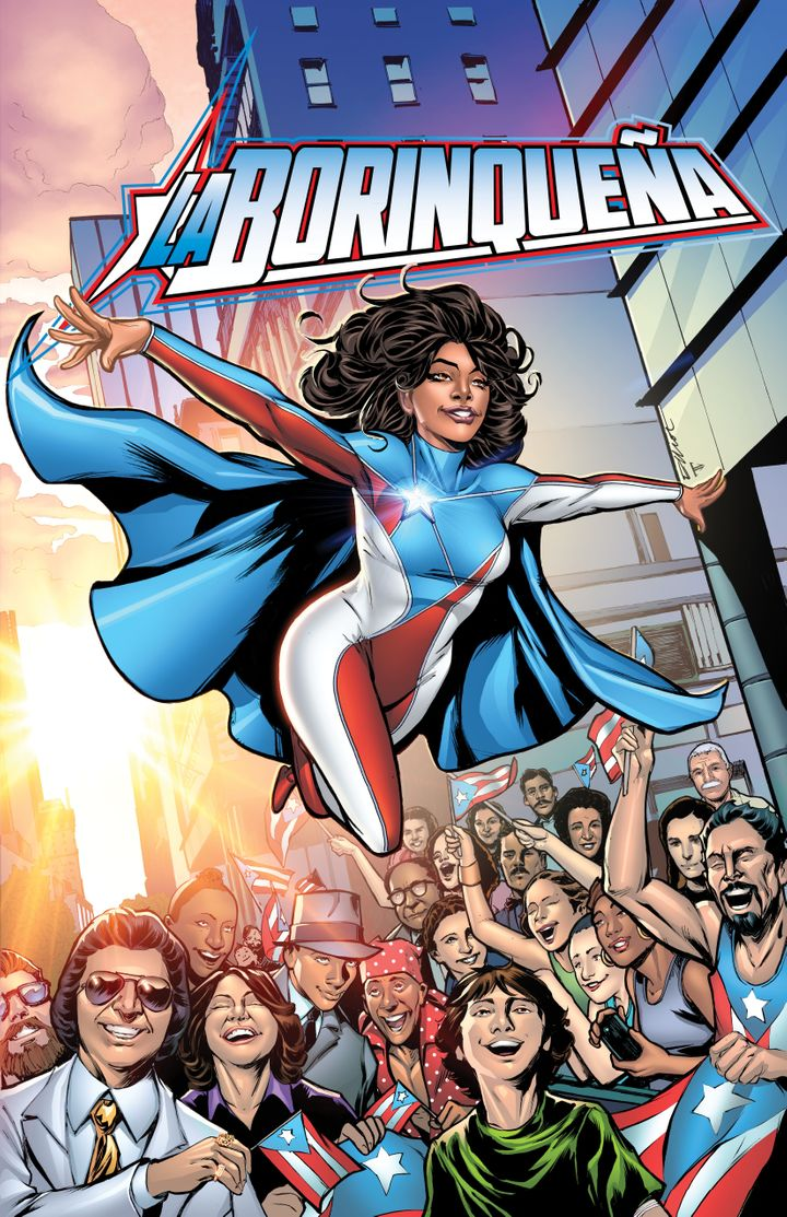 The cover art for the comic book, due out this fall, features La Borinqueña soaring above fellow Puerto Ricans Sonia S