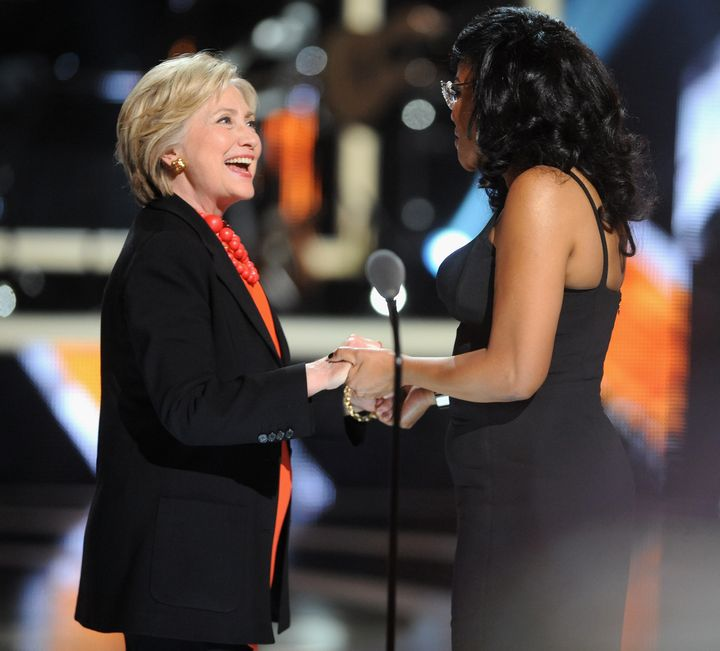 Beverly Bond, founder of Black Girls Rock! joins Hillary Clinton onstage at April's BGR! event.