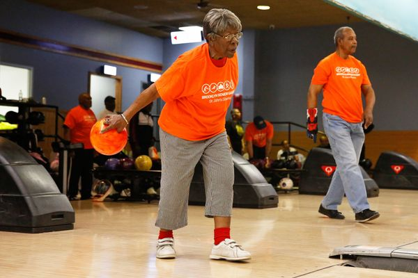 Thelma Wilson, 90, bowls during the Brooklyn Senior Games in New York, U.S., May 10, 2016.