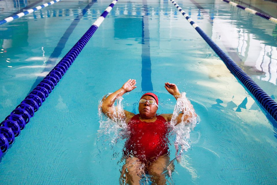 Carolyn Pratt, 63, competes in the backstroke portion of the swimming competition during the Brooklyn Senior Games at the St.