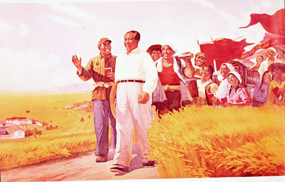 A propaganda poster depicts Mao walking with peasants in the countryside. During the Cultural Revolution, Mao encouraged educ