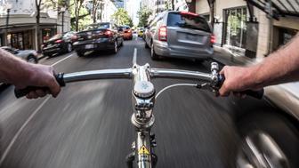 POV commuting on bike in Seattle.