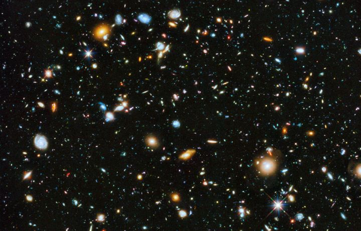 This colorful deep space image captured by the Hubble Space Telescope was released by NASA in 2014. What's astonishing about