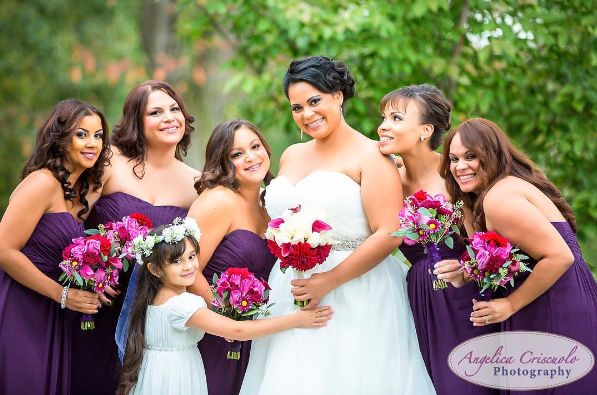 """Bride and her bridesmaids. Beautiful purple and red."" -- <i>Angelica Criscuolo</i>"