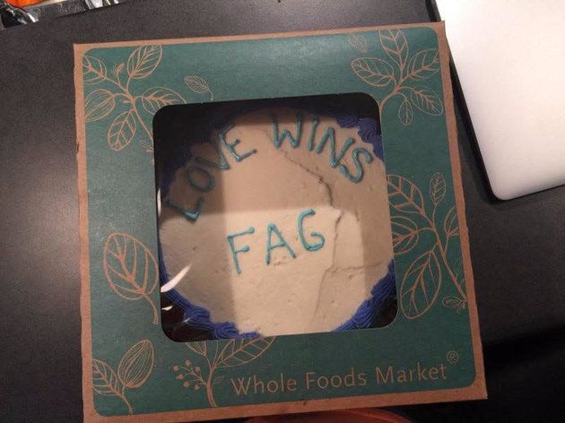 "Brown originally claimed to have received a Whole Foods cake with ""Love Wins Fag"" written on it in icing."