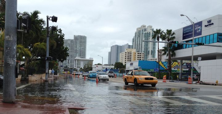 Flooding at Alton Road and 10th Street is seen in Miami Beach, Florida on November 5, 2013.